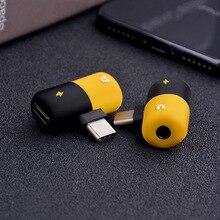 חמוד כמוסה רב פונקציה מתאם מוסיקה + טעינת 2 in 1 Type C 3.5mm ברקים כפול ברקים עבור iPhone7/8/x אנדרואיד