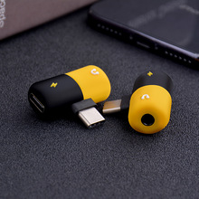 Nette kapsel multi funktion adapter musik + lade 2 in 1 Type C 3.5mm blitz doppel blitz für iPhone7/8/x Android