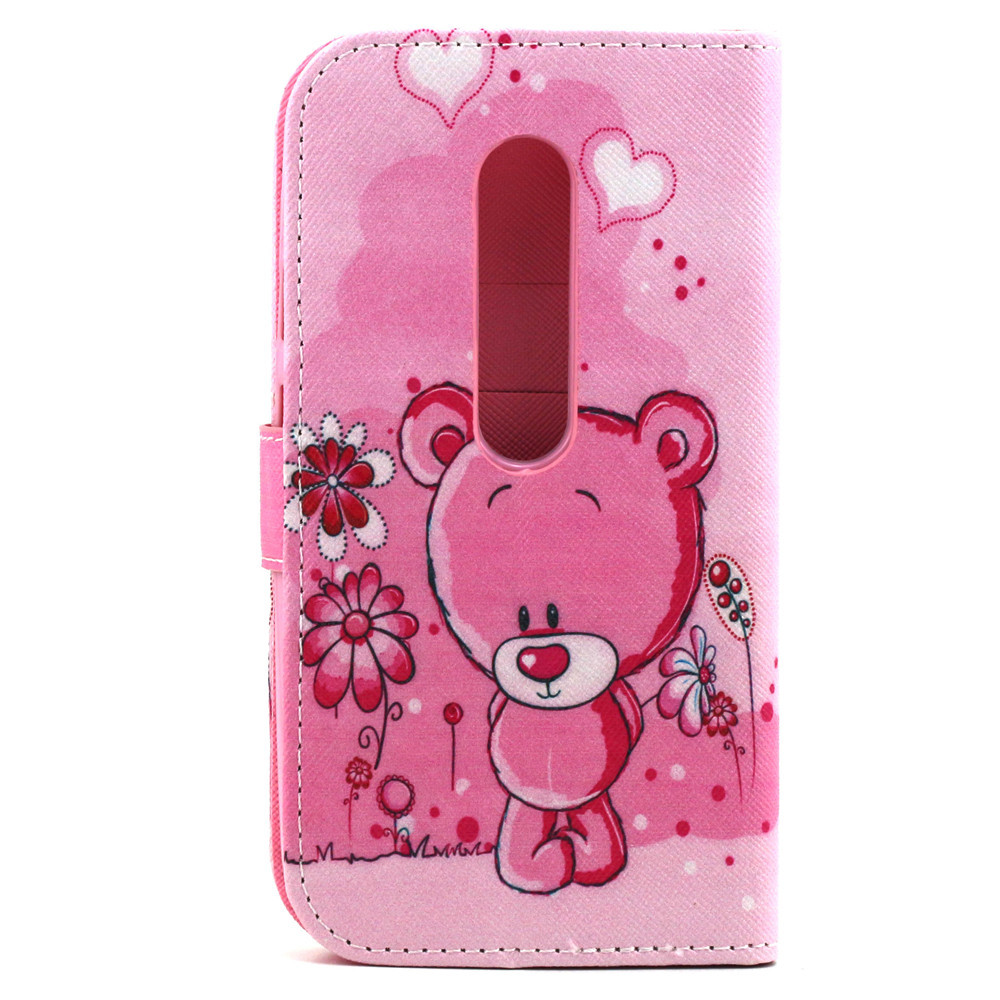 more photos b1c16 26796 US $7.95 |Pink Lovely Bear Flower Pu Leather Flip Stand Pouch Cover Case  For Motorola MOTO G3 G 3rd Gen XT1552 New Hotsale on Aliexpress.com |  Alibaba ...