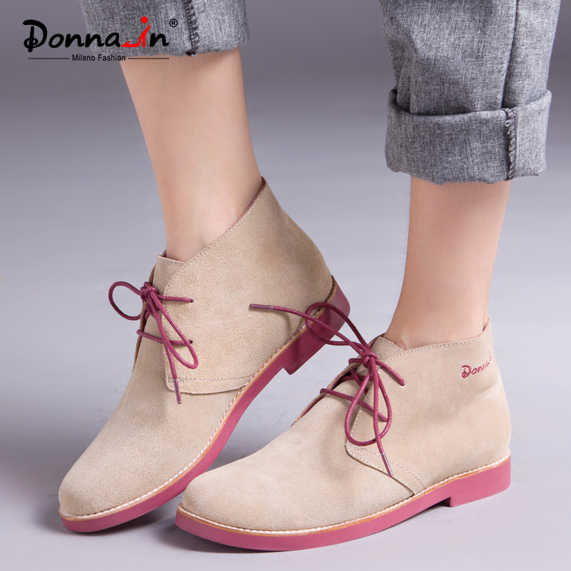 Donna in Ankle Boots for Women Genuine Leather Casual Shoes Booties Woman 2018 Lace up Plus