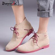 Donna-в женские ботильоны натуральная Повседневная кожаная обувь пинетки женщина 2018 Узелок Плюс Размеры плоской подошве брендовые ботинки martin дамы