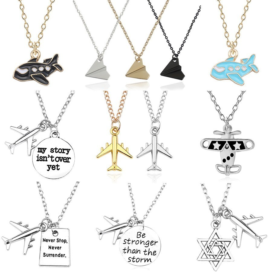 Trendy Paper Airplane Necklace Snatch One Direction Air Plane Pendant Necklaces For Men Women Aircraft Jewelry Xmas Gifts Colar