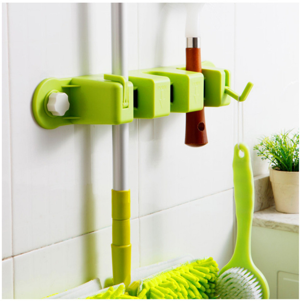 Bathroom Hardware Bathroom Shelves Smart Cool Mop And Broom Holder Wall Mounted Garden Tool Storage Tool Rack New 12.21