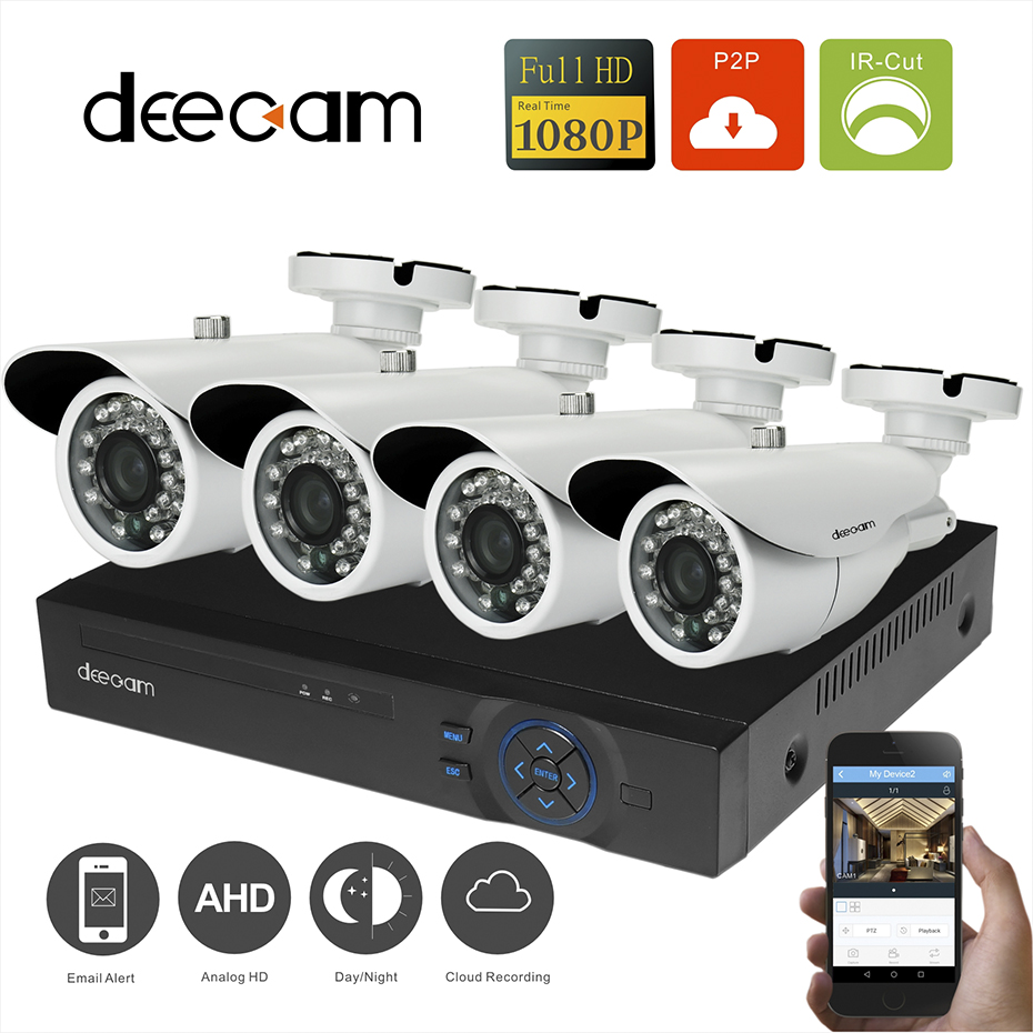 1080p AHD Home Security System 4CH Channel DVR Full HD CCTV Kit Night Vision Bullet Video Surveillance Camera 3.6mm 24 IR Leds sannce 2 0mp 1080p hd 4 channel dvr ahd surveillance kit 4pcs 3000tvl outdoor home security ir night vision camera cctv system