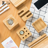 Desktop Wooden Storage Box For Office Stationery Organizer Solid Wood Pen Box Card Holder Office Desk