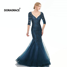 Doragrace Real Photo Applique Beaded Mermaid Half Sleeve Prom Dresses Long Evening Gowns Plus Size vestidos de fiesta