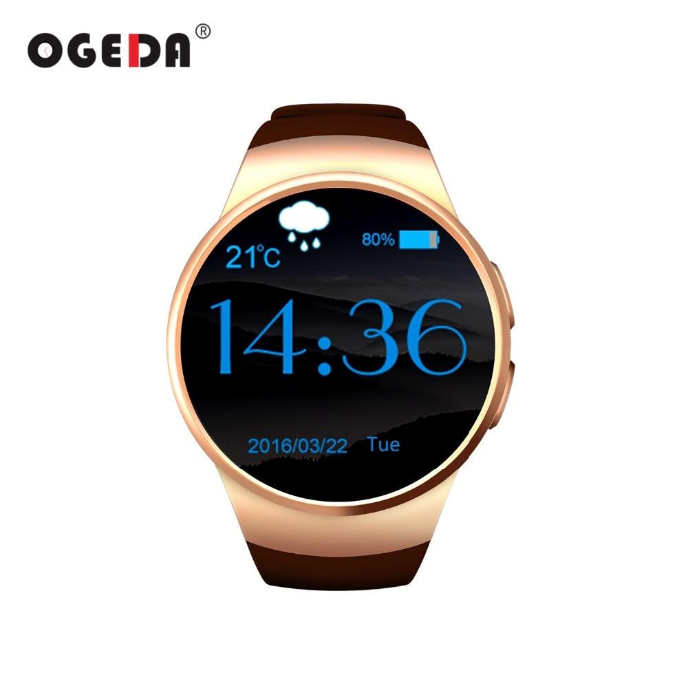 KW18 Men Smart Watch Round Screen Bluetooth 4.0 Anti-lost Alert Remote Camera Heart Rate Tracker Black/Silver/Golden Smart Clock anti lost smart bluetooth 4 0 wallet for men women