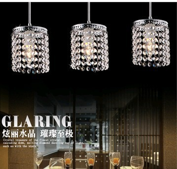 Crystal combination 3 heads E27 K9 Crystal glass clear pendent light lamp lighting fixture droplight bedroom dining room SJ100 dining room study ceiling light lamp lighting bedroom hotel e27 droplight free shipping 3 heads cage design k9 crystal