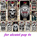 Soft Silicon TPU Phone Covers Cases For Alcatel OneTouch POP 4S One Touch Pop4S OT-5095K Cases Skull Protective Paint back cover
