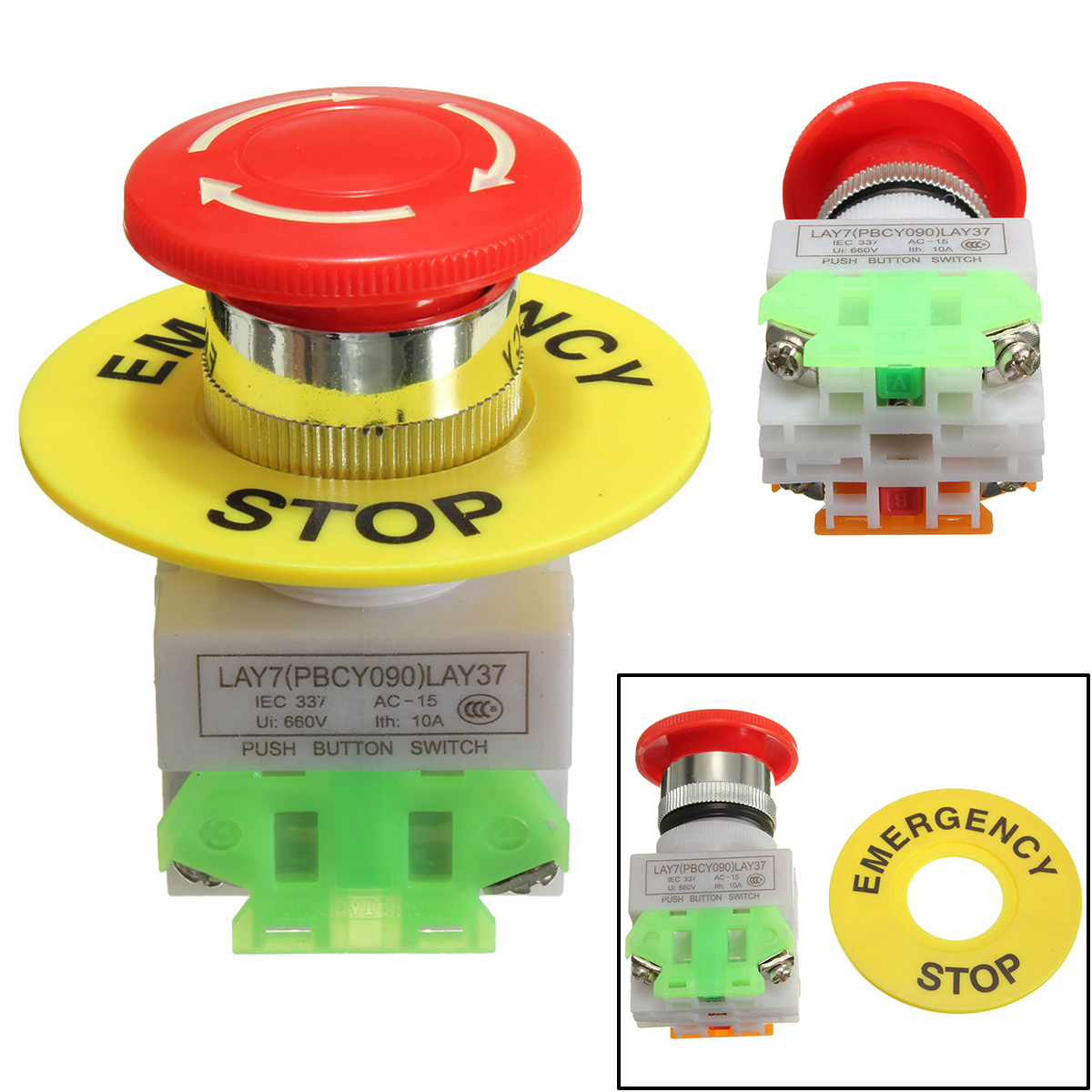 1pc New Emergency Stop Push Button Switch Self Locking Red Mushroom Switch 660V 10A la125j 11b 660v 10a momentary type button switches black 10 pcs