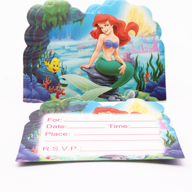 Us 1 68 35 Off 10pcs Cartoon Party Supplies Invitation Card Mermaid Princess Children S Birthday Party Decorations Kids For Home In Cards