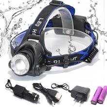Светодиодный налобный фонарь 8000 Люмен T6/L2, 3 режима, масштабируемый водонепроницаемый налобный фонарь, налобный фонарь 18650
