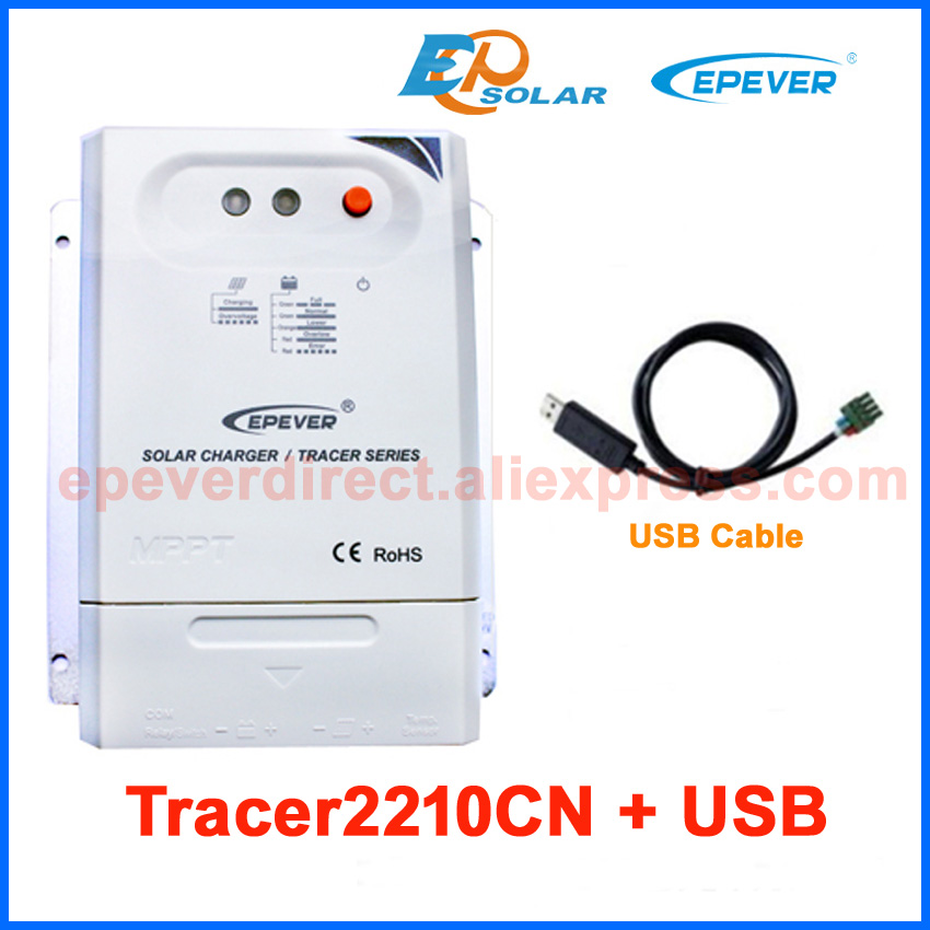 MPPT 20A EPEVER Solar portable regulators Tracer2210CN 12v 24v auto work with USB cable connect PC epever mppt solar controller tracer2210cn 20a 12v 24v auto type with usb connect computer and temperature sensor