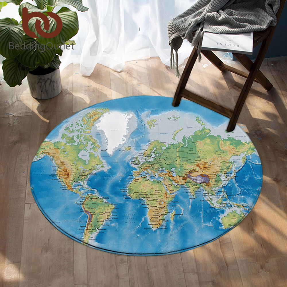 BeddingOutlet World Map Round Carpets For Living Room Vivid Printed Chair Area Rug Blue Floor Mat For Bedroom Kids Play Tent Mat