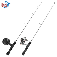 Rosewood New Ice Fishing rod Combo 1 section carbon fiber 24UL 25L 26ML Ice Rod with spinning fly ice fishing reel tackle cheap River Reservoir Pond Ocean Boat Fishing Ocean Beach Fishing stream Ocean Rock Fshing Lake Rod+Reel 1 8 m Stainless Steel