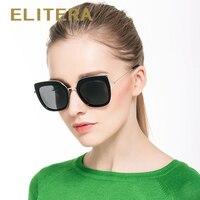 ELITERA Fashion Polarized Sunglasses Cat Eye Style Sun Glasses For Women Vintage Brand Design Oculos De