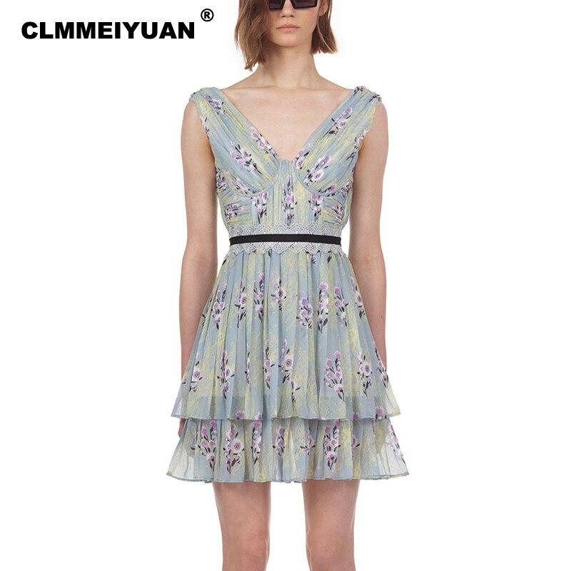 Elegant Pleated Chiffon Women Dress Summer 2019 Chic Floral Print Beach Cake Sun Dress Casual Sexy V Neck Mini Vestidos Femme