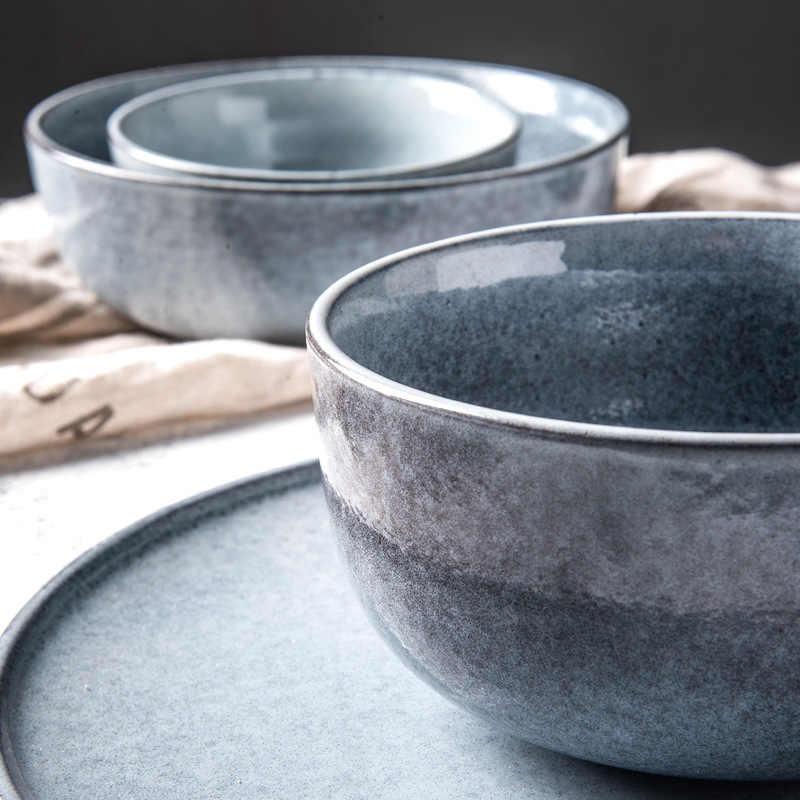 Kinglang Nordic Kreatif Keramik Piring Hidangan Steak Piring Rumah Tangga Mug Peralatan Makan