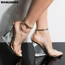 TINGHON Sandals for Women Transparent PU high-heeled Shoes Summer sexy Elegant  fashion Pointed Toe Wedges shoes