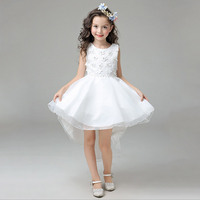 2017 New Kids Girl Party Dress High Quality Girl Trailing Dress Gown With Bow Knot Girls