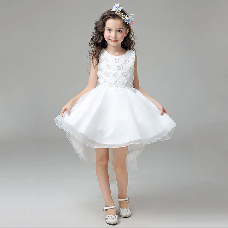 2017 new kids girl party dress high quality girl trailing for 10 year old dresses for weddings