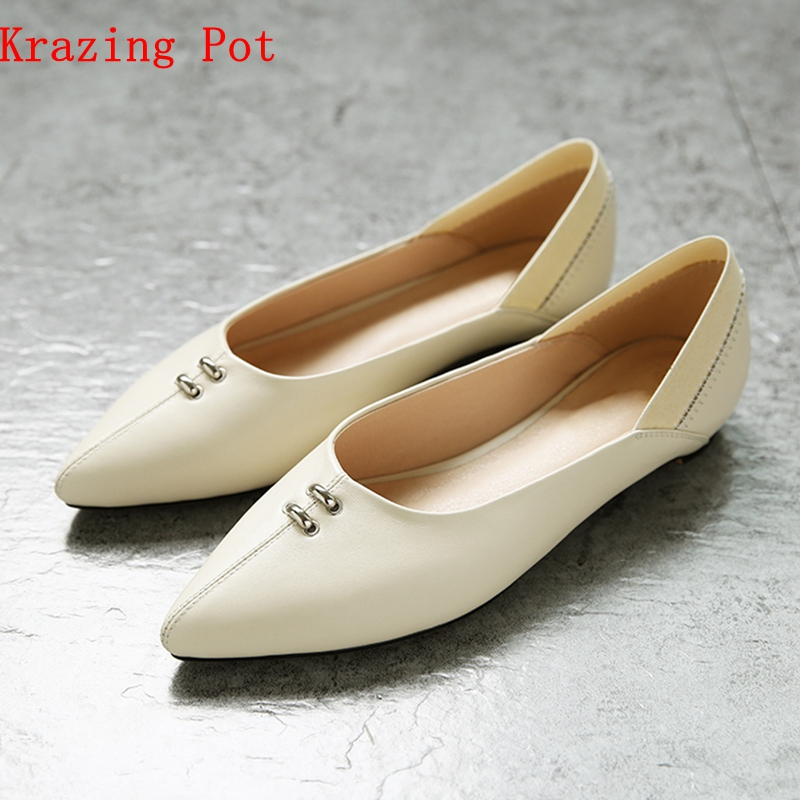 Krazing pot 2018 loafers pointed toe shallow genuine leather metal decorations slip on women flats Autumn Spring soft shoes L58 odetina 2017 new women pointed metal toe loafers women ballerina flats black ladies slip on flats plus size spring casual shoes