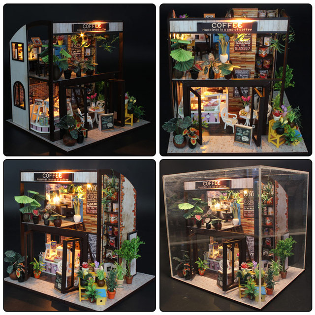Doll House Miniature DIY Dollhouse With Furnitures Wooden House Toys For Children Girls Gift M027 Waiting Time Coffee House