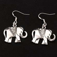 цена на 25pair 25x38mm Royal Dots Elephant Animal Earrings 925 Silver Fish Ear Hook Dangle Jewelry E1396