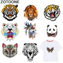 ZOTOONE Cute Animal Sticker Cat Tiger Dog Patches Iron on Transfers for Clothes T-shirt Heat Transfer Accessory Appliques F1