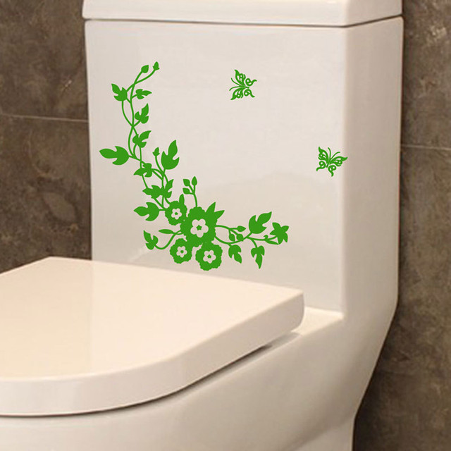 2018 New Fashion Flower Butterfly Wall Sticker Toilet Seat Bathroom  Decoration Wall Decor Butterfly Green Flower