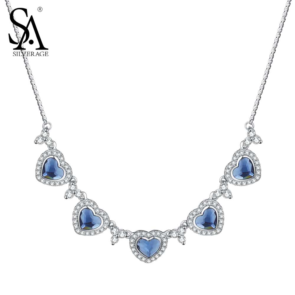 SA SILVERAGE 925 Sterling Silver Statement Necklace & Pendants Blue Crystal Heart Pendant Chain Necklaces Women Accessories sa silverage real 925 sterling silver crystal key necklaces pendants for women silver chain pendant necklaces wedding gifts