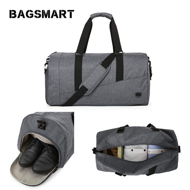 BAGSMART Men Travel Bag Large Capacity Carry on Luggage Bag NylonTravel Duffle with Shoe Pocket Women Travel Luggage Weekend Bag
