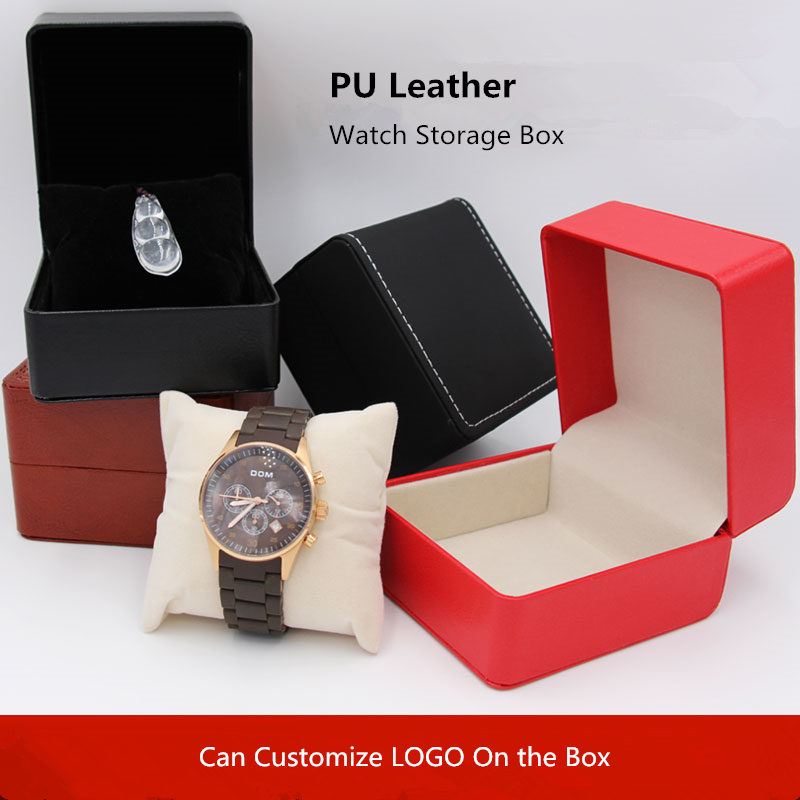 US $6 99 |Wholesale PU Leather Watch Box New Single Watch Storage Case  Fashion Mechanical Brand Watch Gift Box Can Customize LOGO A055-in Watch  Boxes