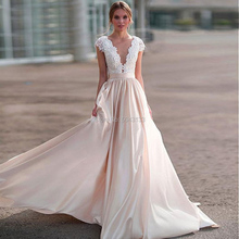 Champagne Elegant Satin Lace Applique A Line Wedding Dresses Sexy Sheer Scoop Neck Short Sleeves Wedding Bridal Gown Court Train