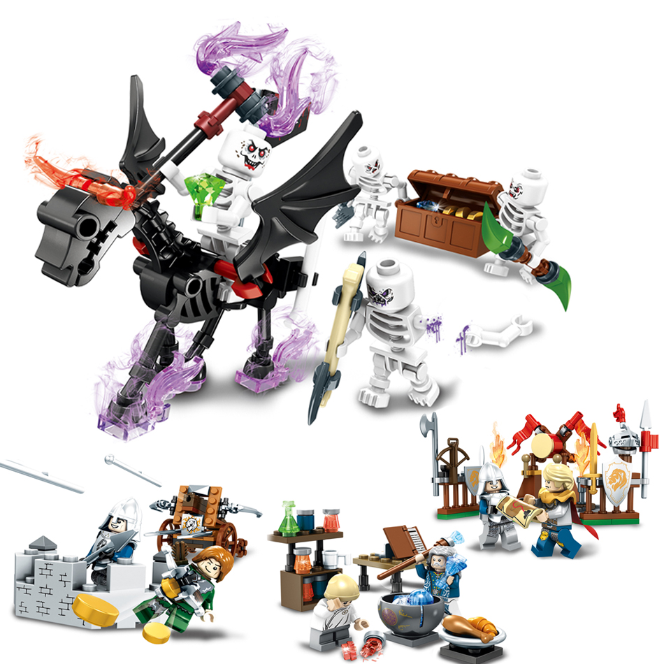 Ghost Tribes Series Knight Skeleton War Action Figures Building Block Compatible Legoe Enlighten Brick Toys For Children Friends 0367 sluban 678pcs city series international airport model building blocks enlighten figure toys for children compatible legoe