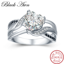 [BLACK AWN] 4.7g Engagement Rings for Women 925 Sterling Silver Jewelry Black&White Stone Heart Zircon Bague Lover Gift C422
