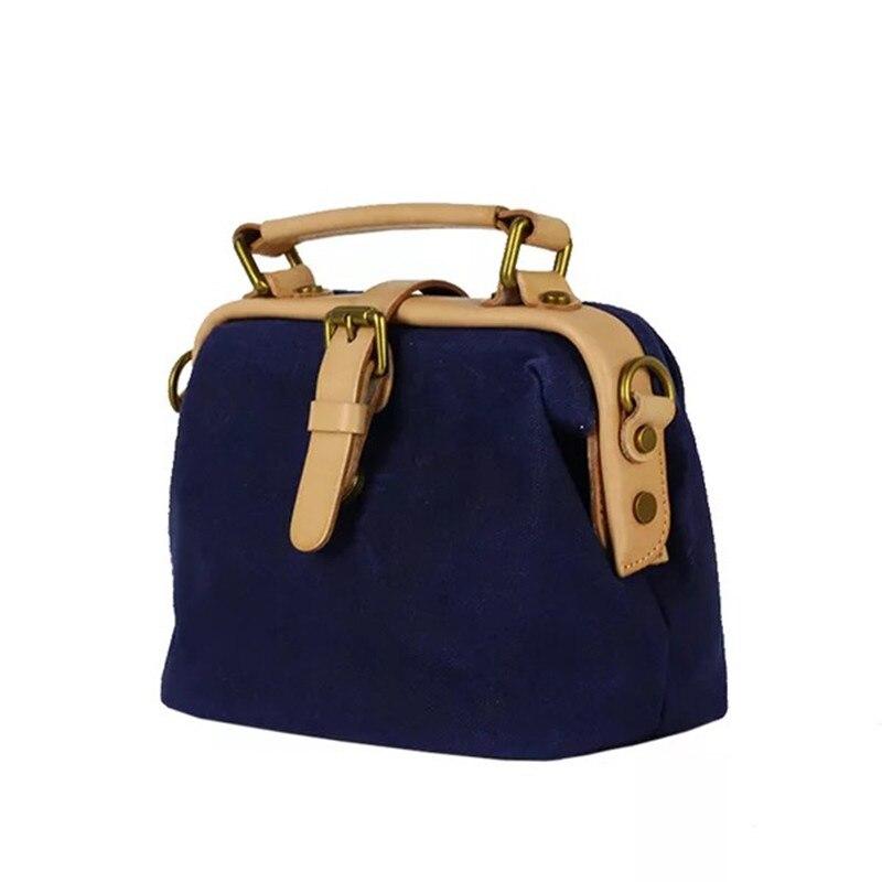 Japan Style Handmade Designer Women Canvas Doctor Bag Clutch Purse Genuine Cow Leather Patchwork Girls Mini Shoulder Bag Handbag doctor bag