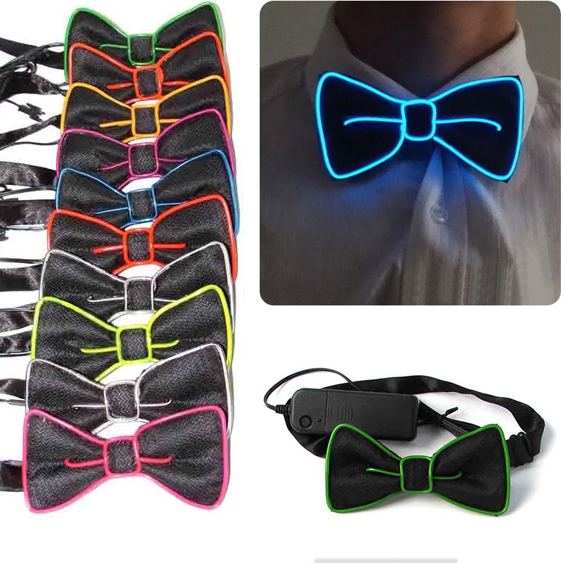 2018 New Fashion Men LED EL Wire Necktie Luminous Neon Flashing Light Up Bow Tie For Club Cosplay Evening Party Decoration BS88