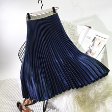 2019 Spring Women Elegant Pleated Skirt Elastic High Waist Women Long Skirt Female Autumn Ladies High Quality Midi Skirt Saia