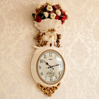 Silent living room atmosphere fashion creative clock Luxury household Nordic wall clock Wall decorative flower pendant clock