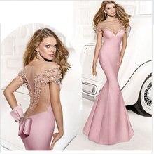 цены на Sexy Mermaid Backless Evening Dress Sleeveless V-neck See Through Beading Bow Train Party Dress Custom Tarik Ediz Evening Gown  в интернет-магазинах