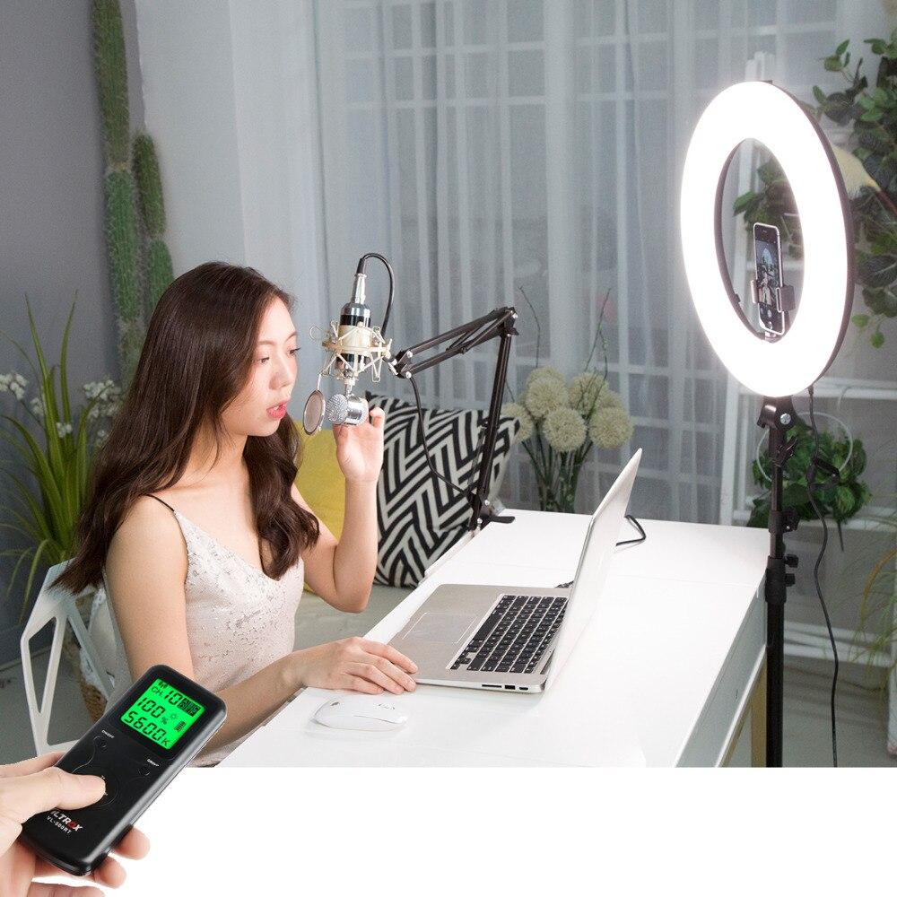 Viltrox VL-600T 18 ''45 w Sans Fil À Distance LED Vidéo Anneau Lumière Bi-couleur Studio Lampe pour Make Up, youTube Téléphone Live Photo
