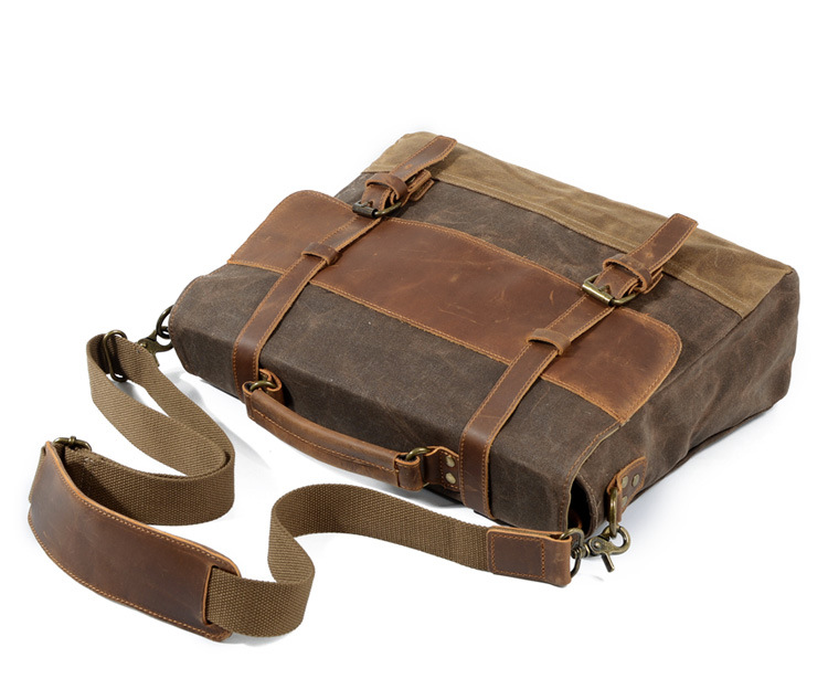 "M275 Mens Messenger Bag Waterproof Canvas Leather Men Vintage Handbags Large Satchel Shoulder Bags 14"" Computer Laptop Briefcase"