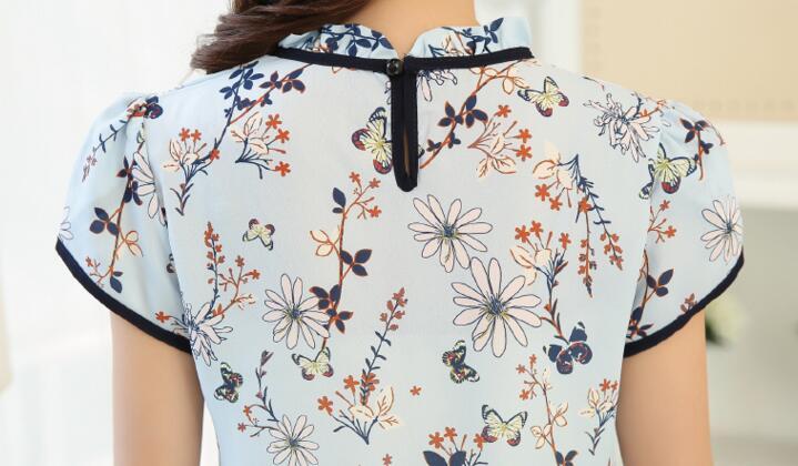 HTB1Y4vMQXXXXXadXFXXq6xXFXXX5 - Floral Print Chiffon Blouse Collar Short Sleeve Women