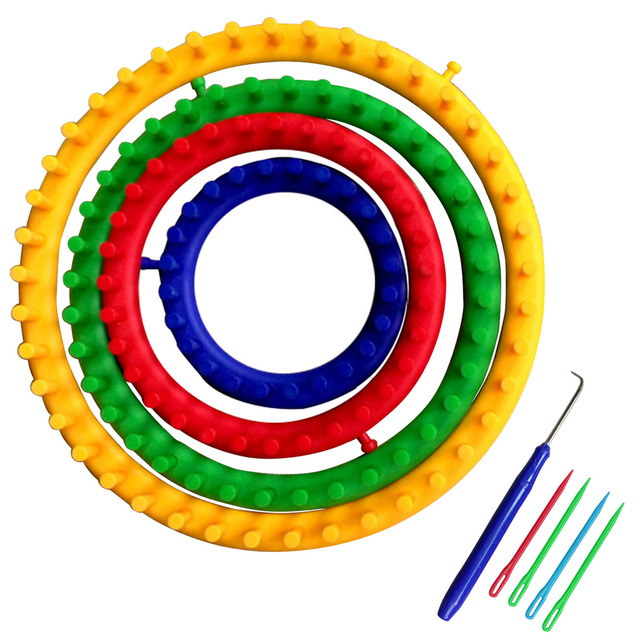 4pcs Diy Plastic Round Circle Knitting Loom Sock Scarf Hat Circular