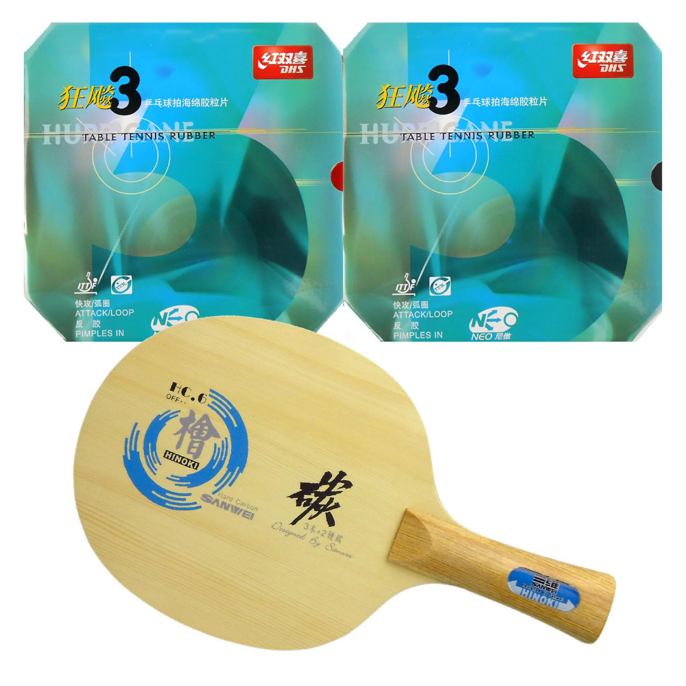 Original Pro Table Tennis PingPong Combo Racket: Sanwei HC.6 Blade with 2x DHS NEO Hurricane 3 Rubbers Long shakehand FL pro table tennis pingpong combo racket dhs power g7 blade with 2x palio ak 47 red matt rubbers shakehand long handle fl
