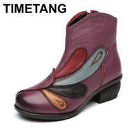 TIMETANG 2017 Genuine Leather Women Boots Winter Warm Ankle Boots Women Winter Shoes short Plush Insole
