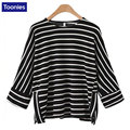 Women'S Top Shirts Tees Three Quarter Batwing Sleeve Loose T Shirt Tops Femme Clothes O-Neck Side Split Striped Spring T-Shirt