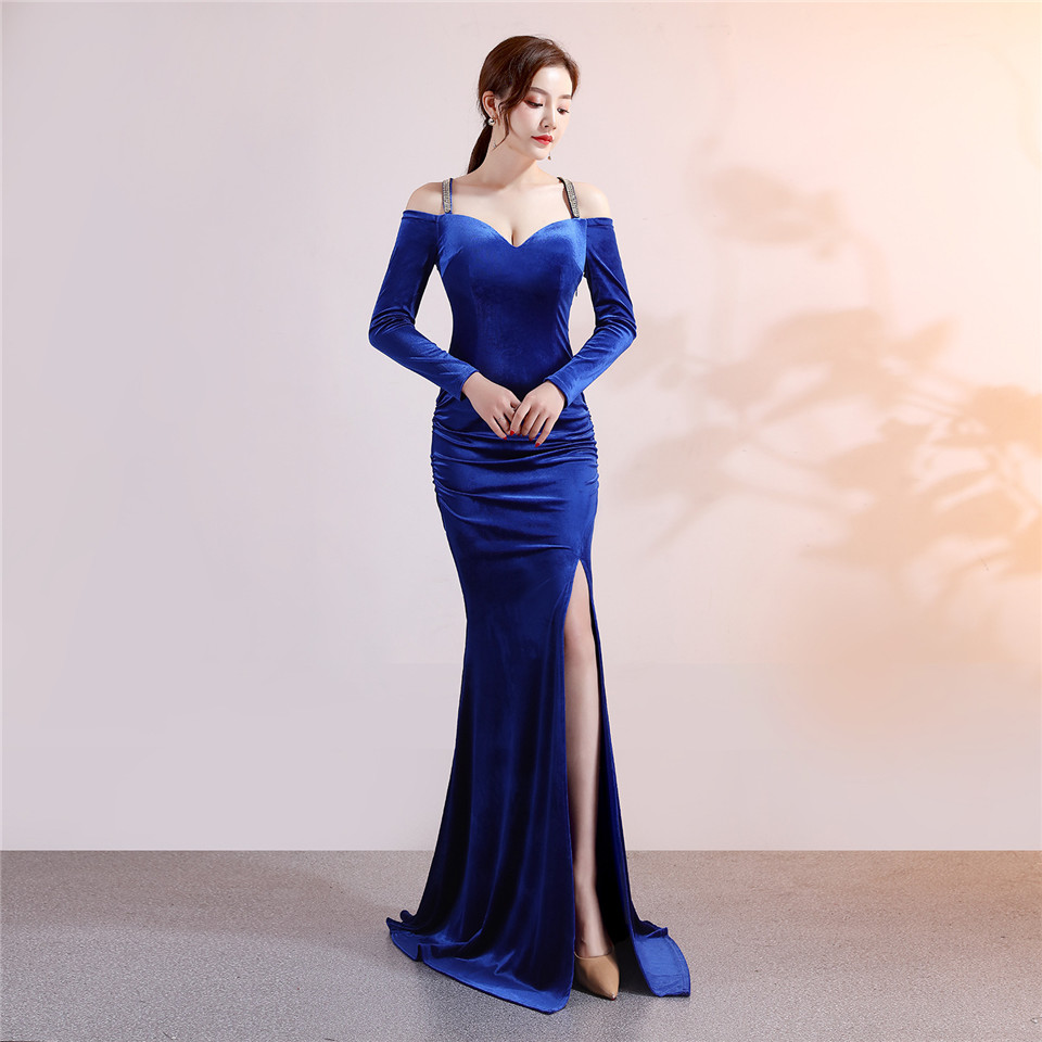 It's Yiiya evening gowns Crystal Full sleeves V-neck Zipper Party dress Royal Floor-length Criss-cross Trumpet Prom dresses C179