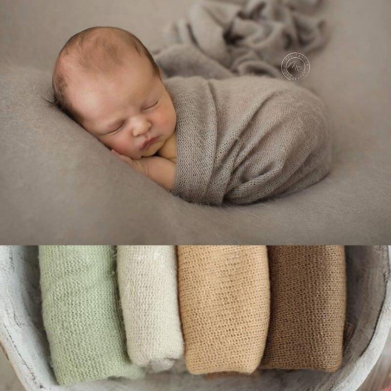 50*160 cm Viele Farben New Newborn Foto Prop Wraps, stricken Weiche Stretch Fotografie Prop, posiert Weiß Popcorn Stretchy baby wrap
